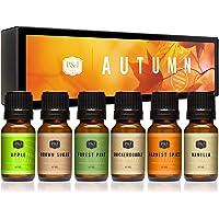 Juego de 6 aceites aromáticos premium de otoño - azúcar moreno, manzana, especias, vainilla, pino, snickerdoodle - 10ml.