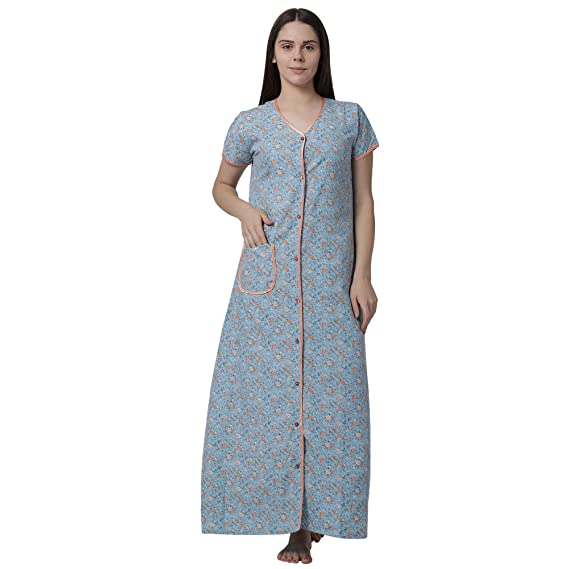 754f5a59e9a Goldstroms Minelli Women s Cotton Fabric Front Button Open Night Gown Blue