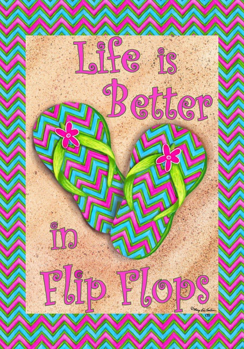 La vida es mejor en chanclas piscina playa océano doble cara bandera de Jardín 12 x 18: Amazon.es: Jardín