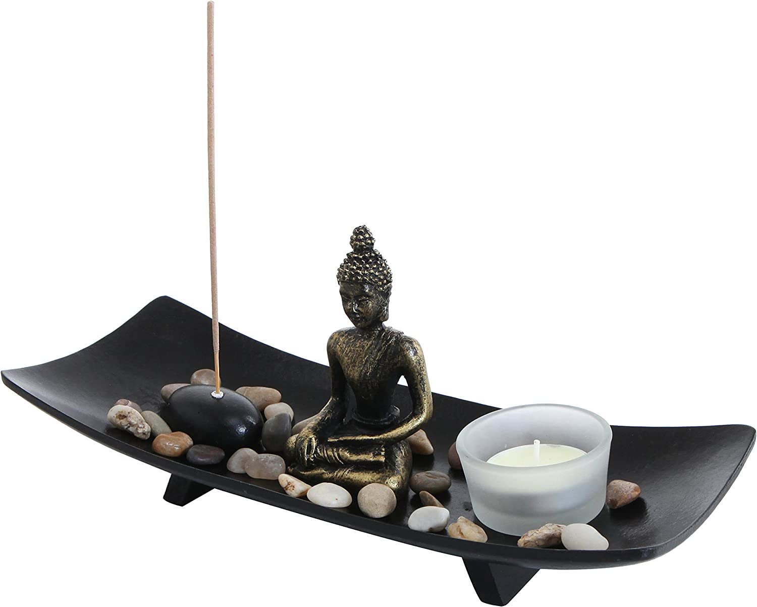 MyGift Zen Garden Buddha Statue with Glass Tealight Candle & Incense Burner Holder