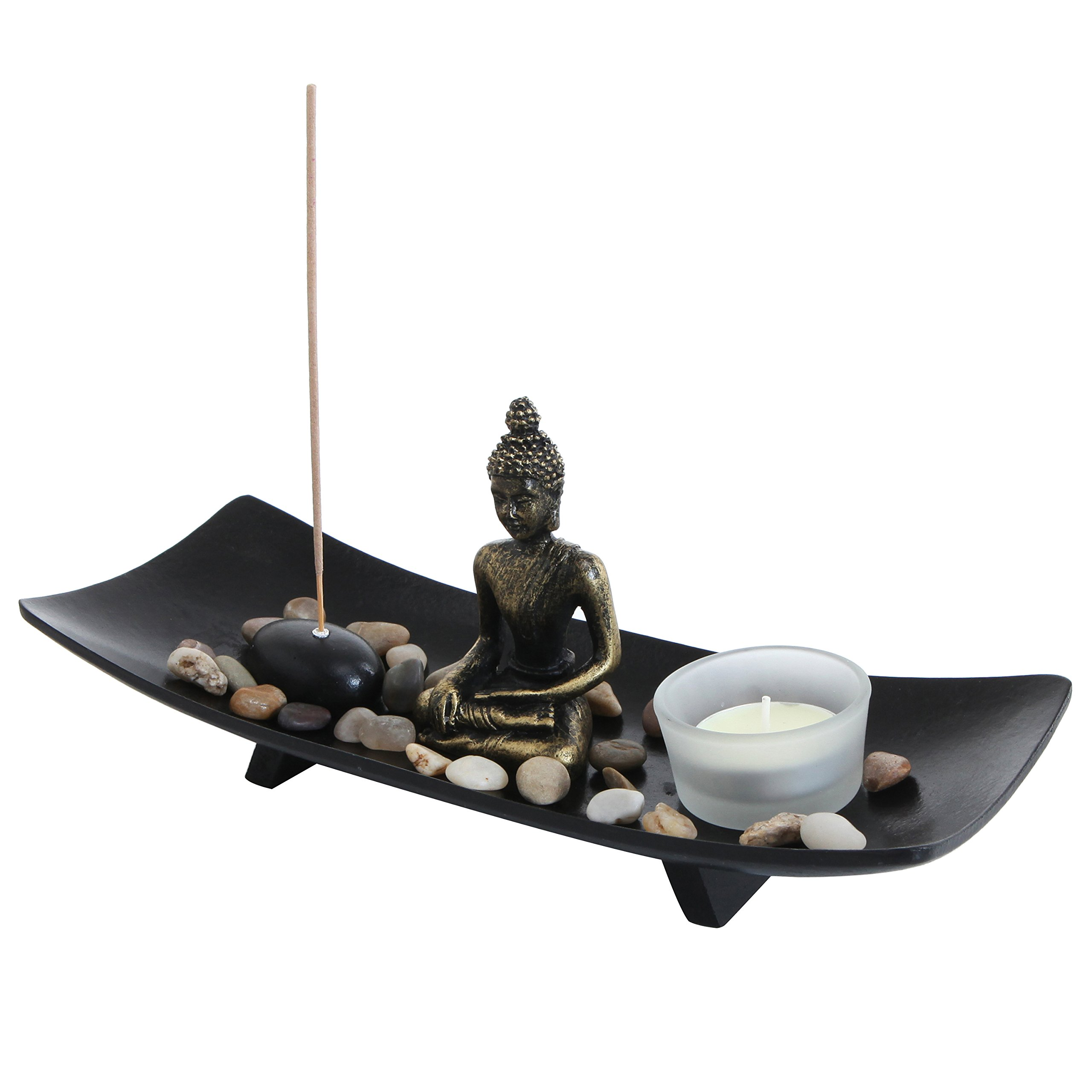 MyGift Zen Garden Buddha Statue Glass Tealight Candle & Incense Burner Holder, Black by MyGift