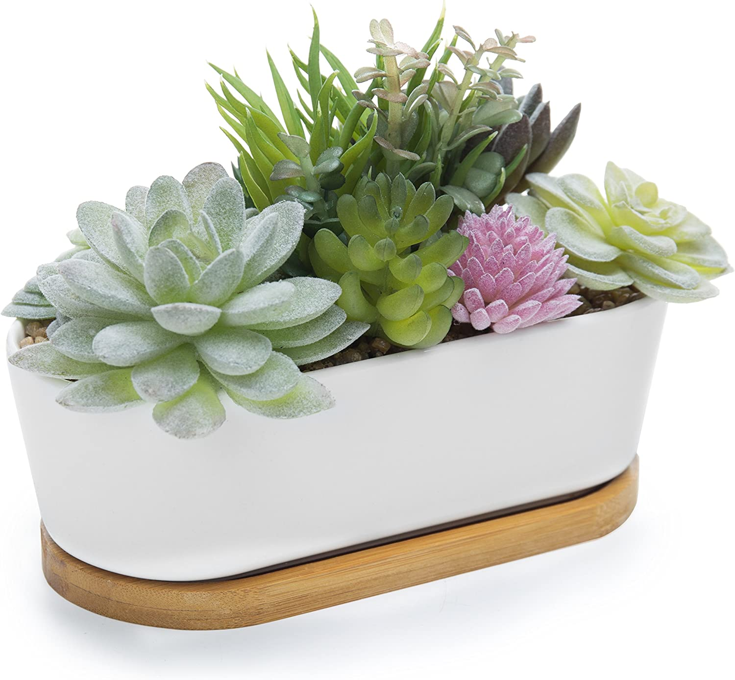 MyGift Artificial Succulent Plant Arrangement in Ceramic Trough Planter & Bamboo Tray (Plant 3)
