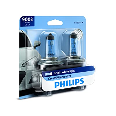 Philips 9003 CrystalVision Ultra Upgrade Bright White Headlight Bulb, 2 Pack: Automotive
