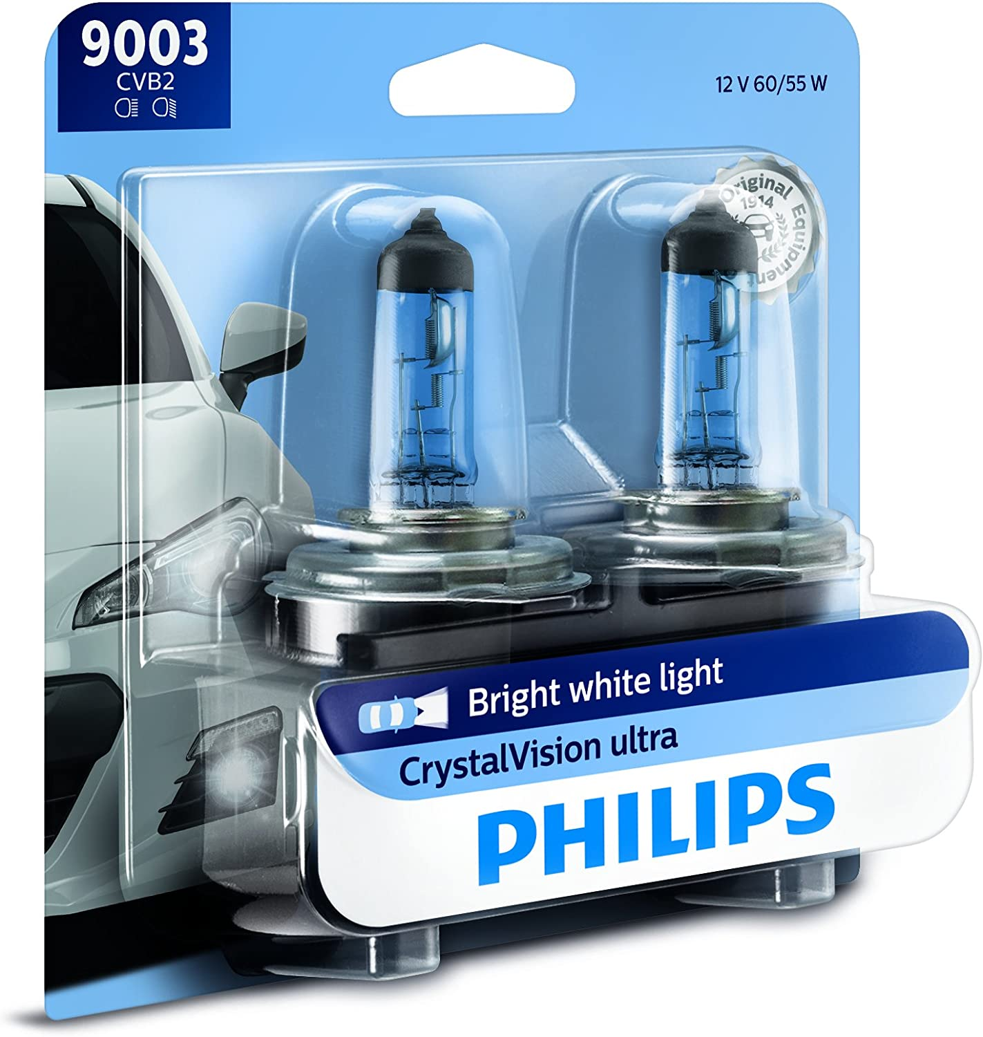 2 Pack Philips 9003 VisionPlus Upgrade Headlight Bulb with up to 60/% More Vision