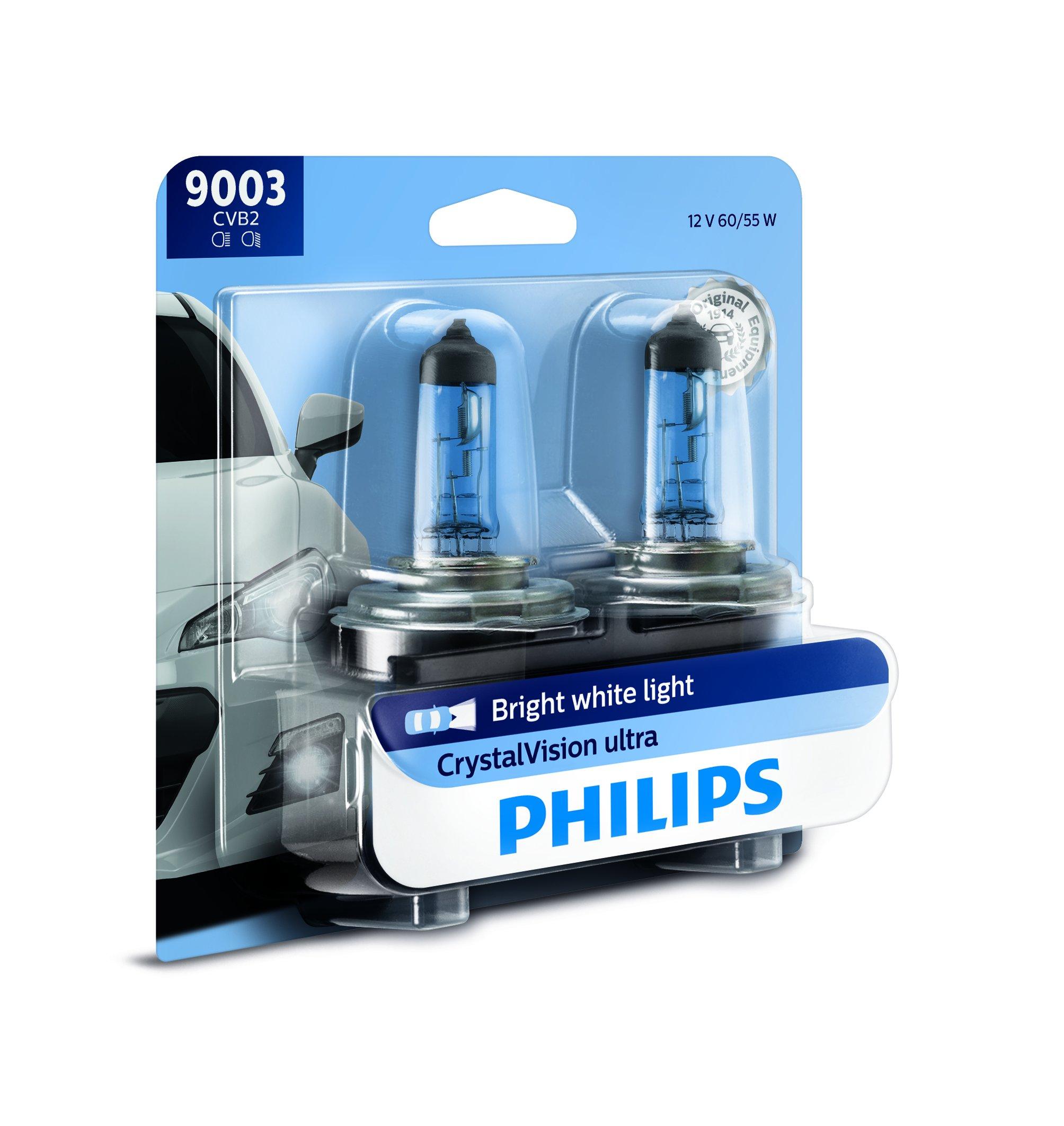 Philips 9003 CrystalVision Ultra Upgrade Bright White Headlight Bulb, 2 Pack