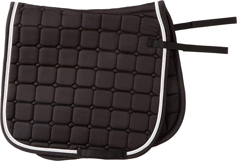 Horse&Passion 914031/11776 Fashion Silla de Montar, Negro, Doble Cordón Blanco, Plata