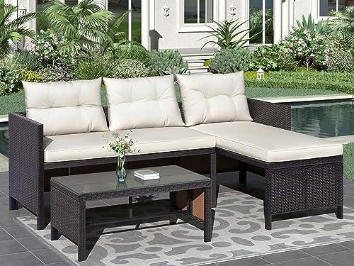 Rhomtree 3PCS Patio Furniture Set Outdoor Conversation Set Wicker Rattan Sectional Sofa Set