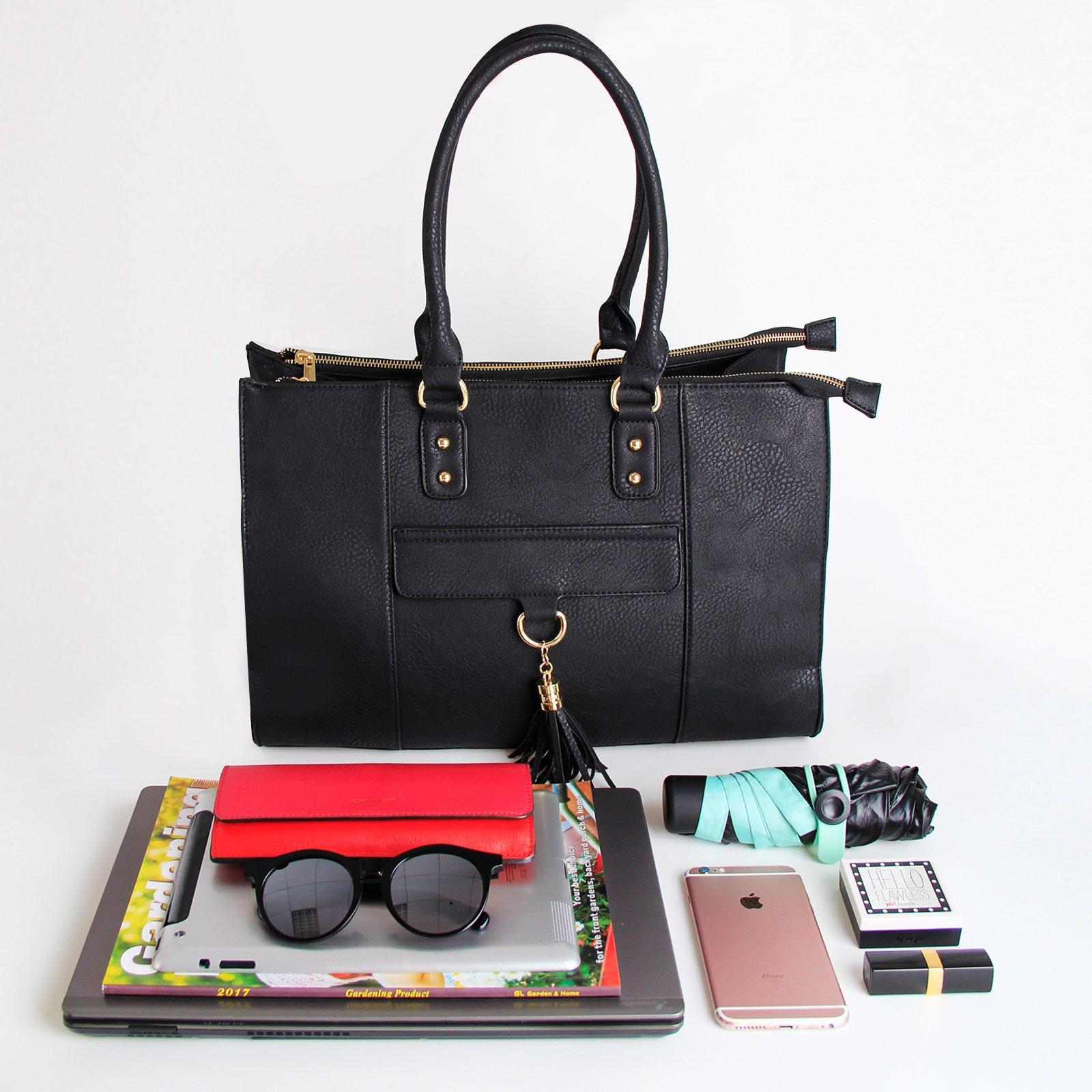 Eva & Evan 2018 New Women Satchel Handbags Shoulder Bag with Tassels Top Handle Large PU Leather Adjustable Strap Black by BAYTTER (Image #9)