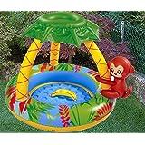 Idea Estate: Piscina Gonfiabile per bambini con scimmietta e parasole. Misure 102x102 cm