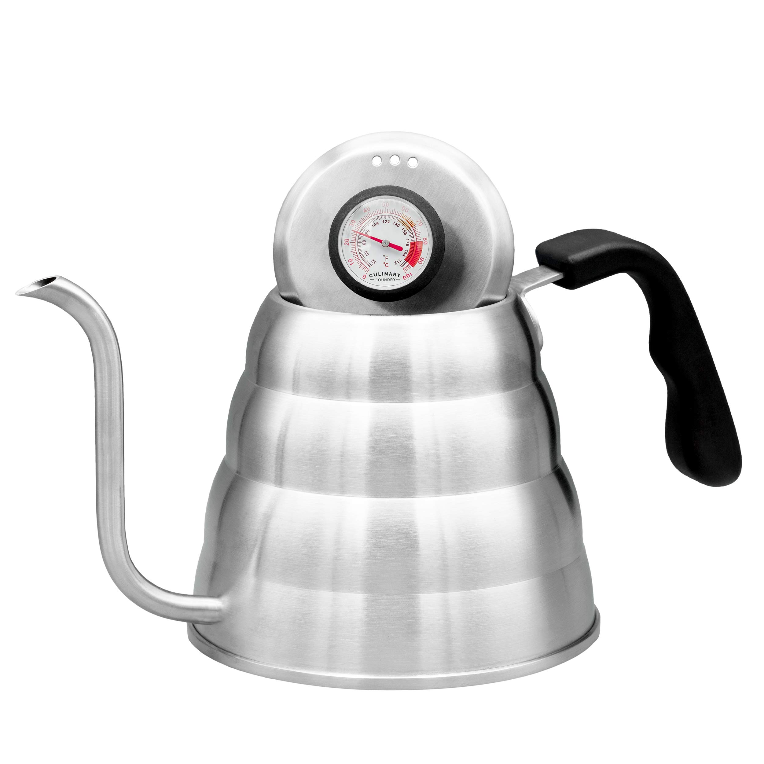 Pour Over Coffee Kettle With Gooseneck Spout by Culinary Foundry - 1.2 Liter Capacity Made of Premium Stainless Steel With Built-In Thermometer - Achieves Perfect Water Temperature Every Time by Culinary Foundry (Image #4)