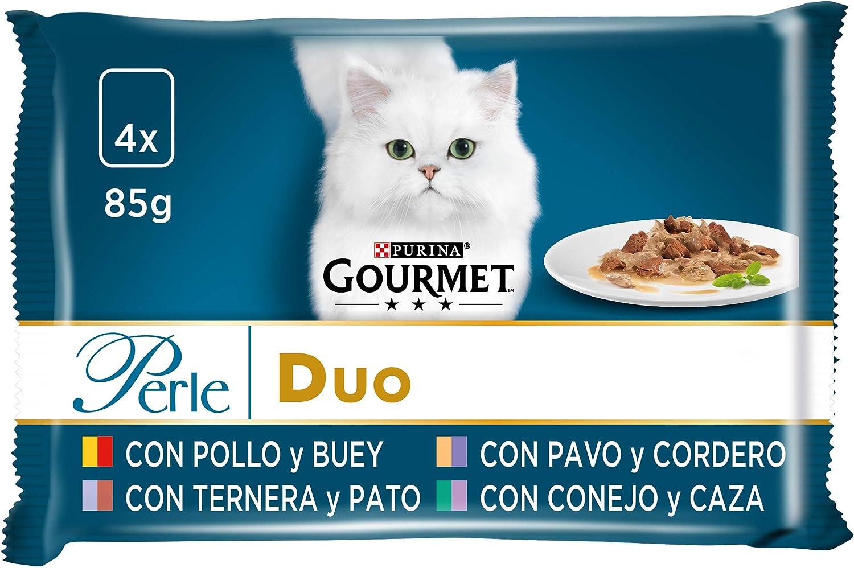 Purina Gourmet Perle Finas Láminas DUO comida para gato Carnes Delicadas 12 x [4 x 85 g]