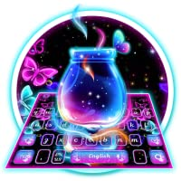 Neon Sparkling Feather Bottle Keyboard Theme