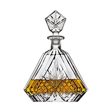 Crystal Whiskey Triangular Decanter Lead-Free - Perfect for Liquor, Scotch, Bourbon, Wine - Irish Cut, Packaged in an Elegant Gift Box