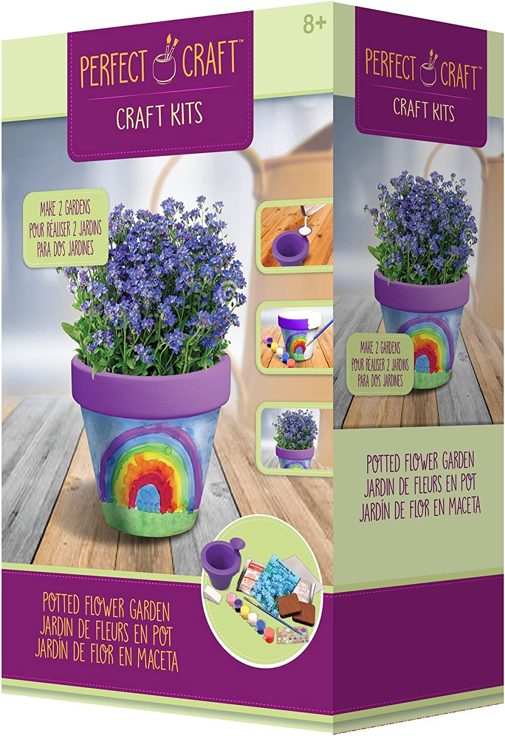 """Perfect Craft Award Winning Cast & Paint 3.25"""" Flower Pot Kit with Perfect Cast Casting Material and Reusable Mold"""