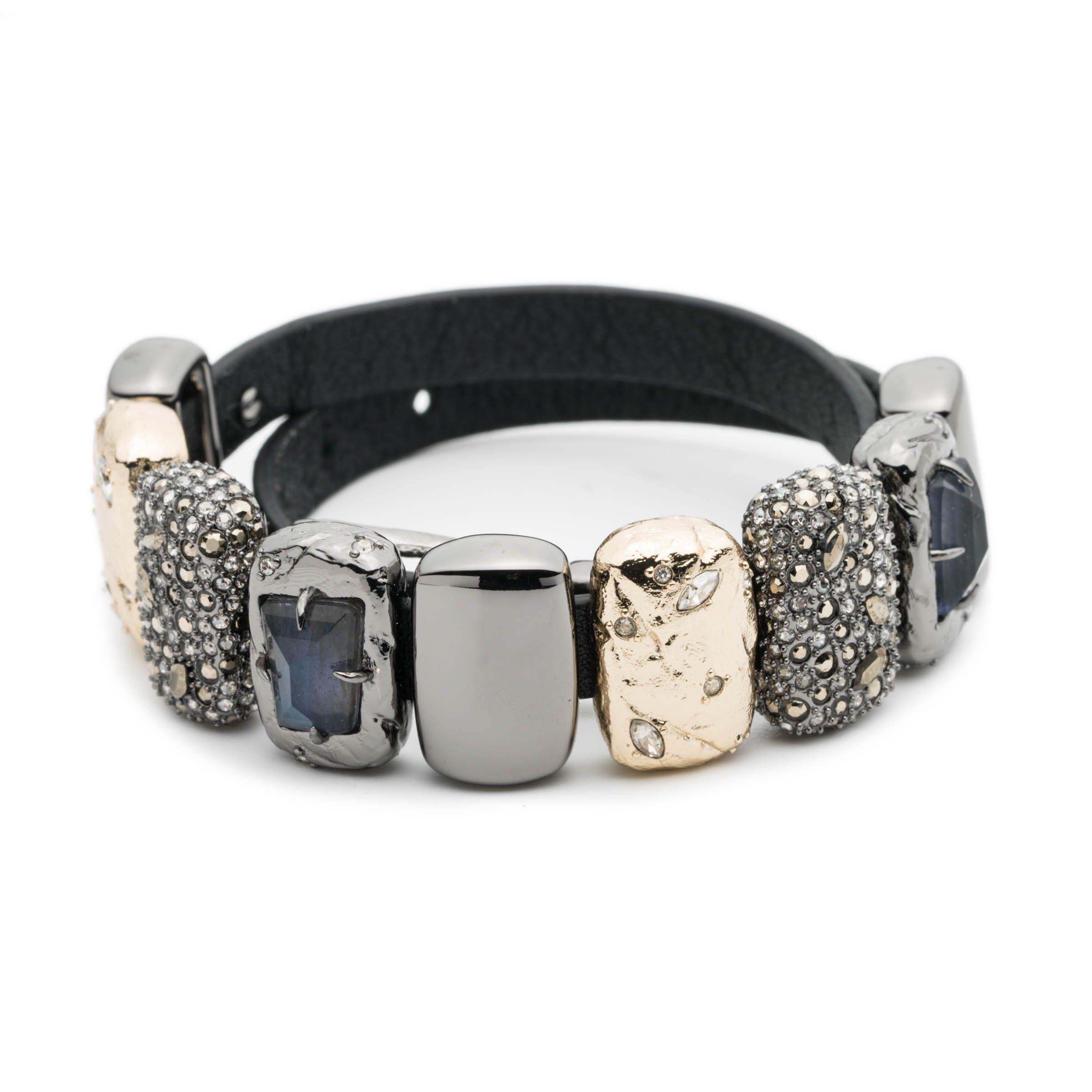 Alexis Bittar Leather Choker/Wrap Bracelet W/Charms with Swarovski Crystal Accent
