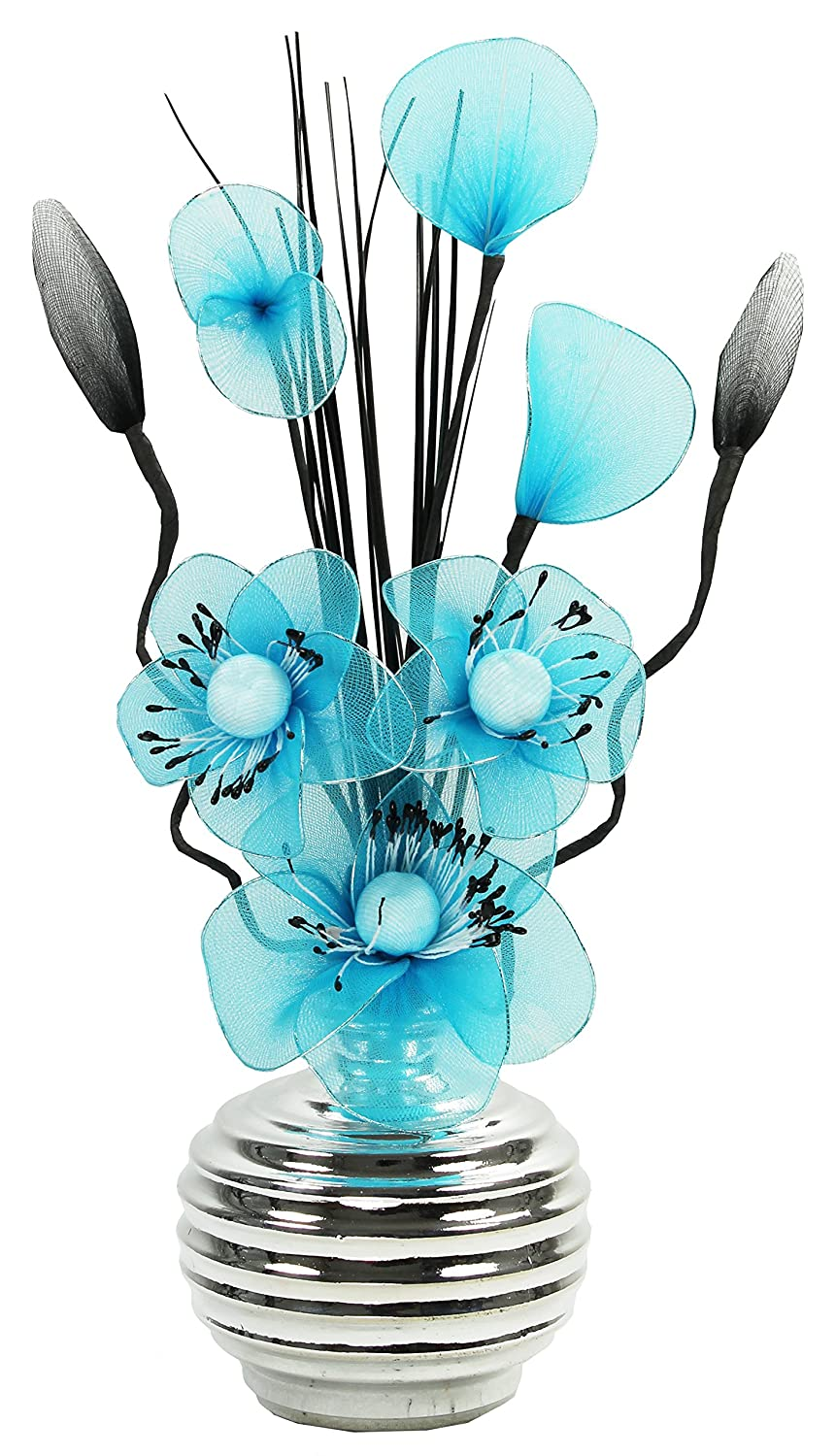 teal blue nylon flower in silver vase table decorations. Black Bedroom Furniture Sets. Home Design Ideas