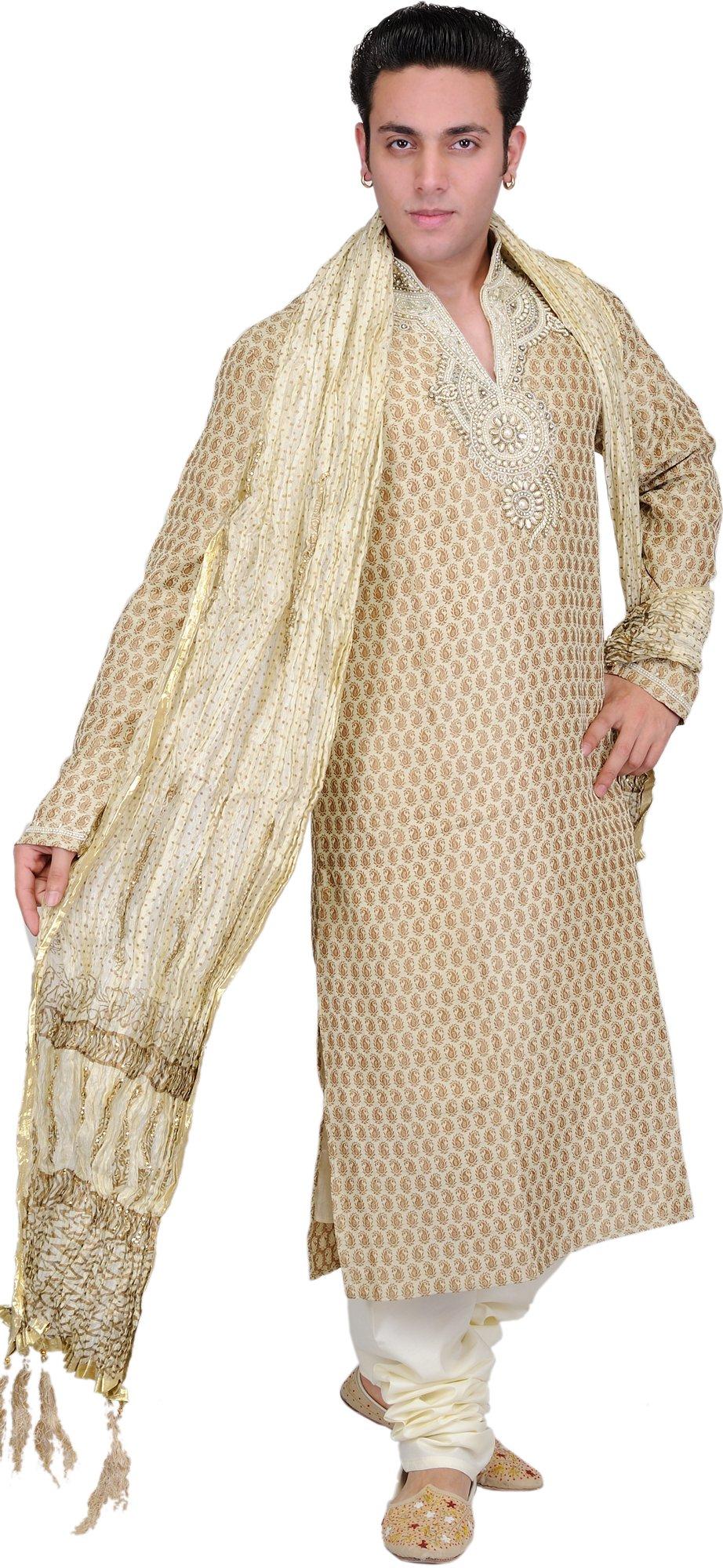 Exotic India Golden-Beige Wedding Kurta Pajama with Bro Size 42