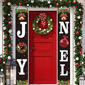 Christmas Decorations Joy Noel Porch Signs Banners Red Large Xmas Holiday Decor Banners for Home Indoor Outdoor Front Door Yard Living Room Wall Apartment Party Decoration Supplies