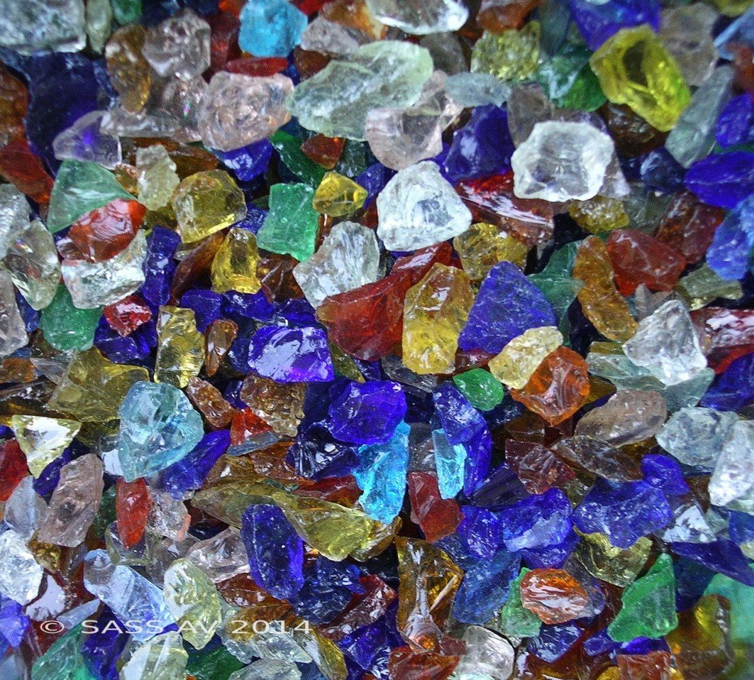 FGSD Rainbow Mix Fireglass Fireplace Fire Pit Glass ~3/8-1/2, 10 LBS Fireplace Glass San Diego RNB-10