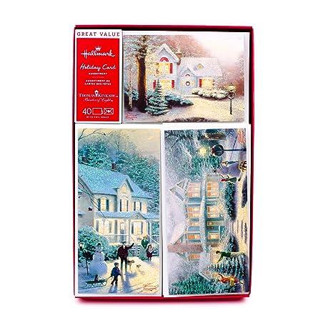 Hallmark Christmas Cards.Hallmark Thomas Kinkade Boxed Christmas Cards Assortment Snowy Houses 40 Cards With Envelopes And Foil Seals