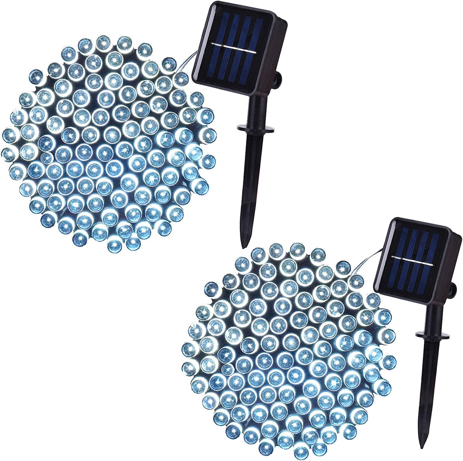 Solar String Lights Outdoor Waterproof, 39 ft 100-LED Solar Lights Outdoor, 8 Lighting Mode Solar Fairy Lights for Garden, Patio, Yard, Christmas Trees Wedding Party Decor (White, 2 Pack)
