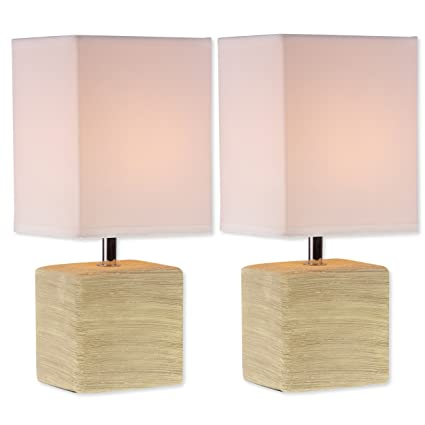 Light accents table lamps square ceramic mini table lamps beige light accents table lamps square ceramic mini table lamps beige finish set of two aloadofball Image collections
