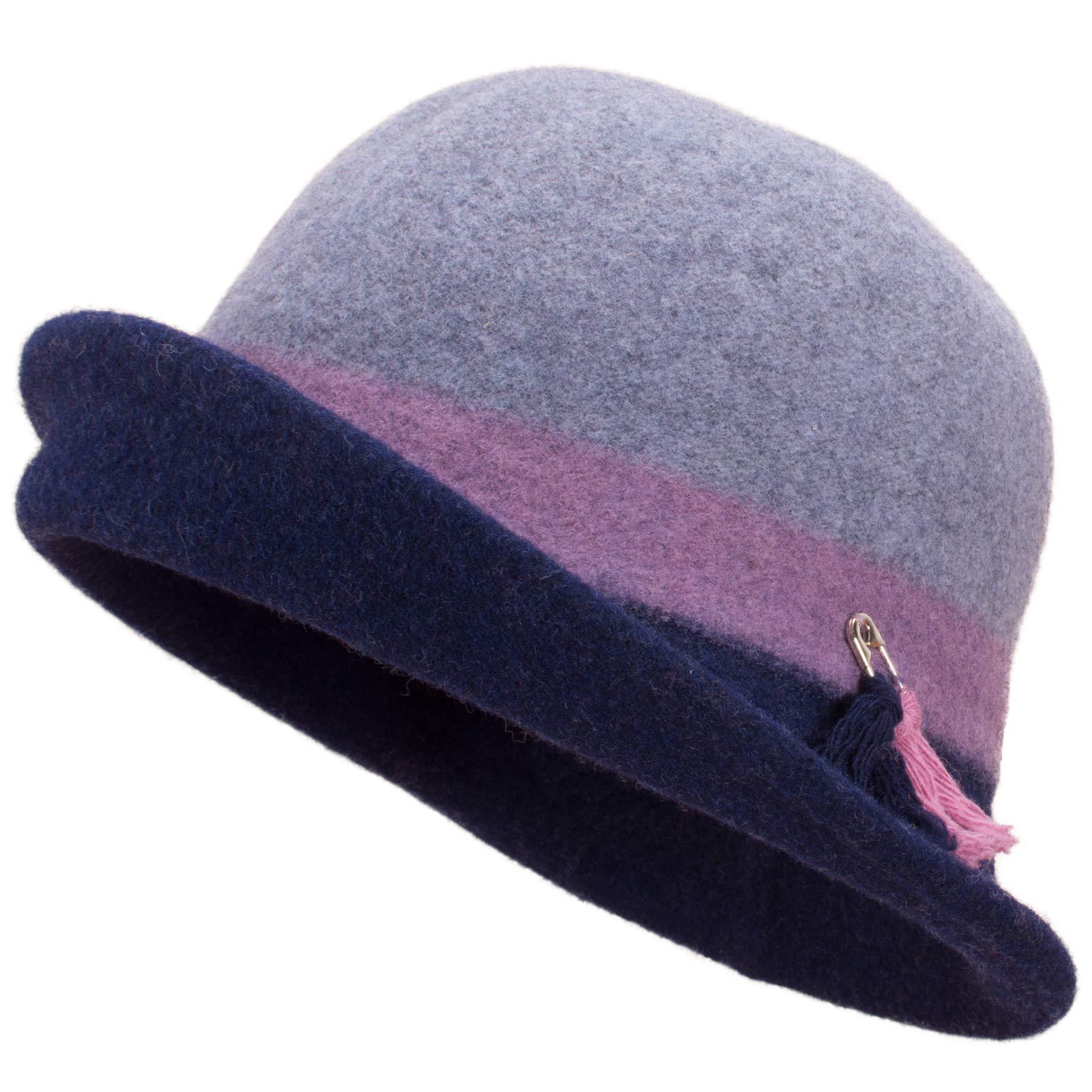 Lawliet Womens Vintage Style Upturn Brim Cloche Wool Soft Bucket Winter Hat A499 (Gray)