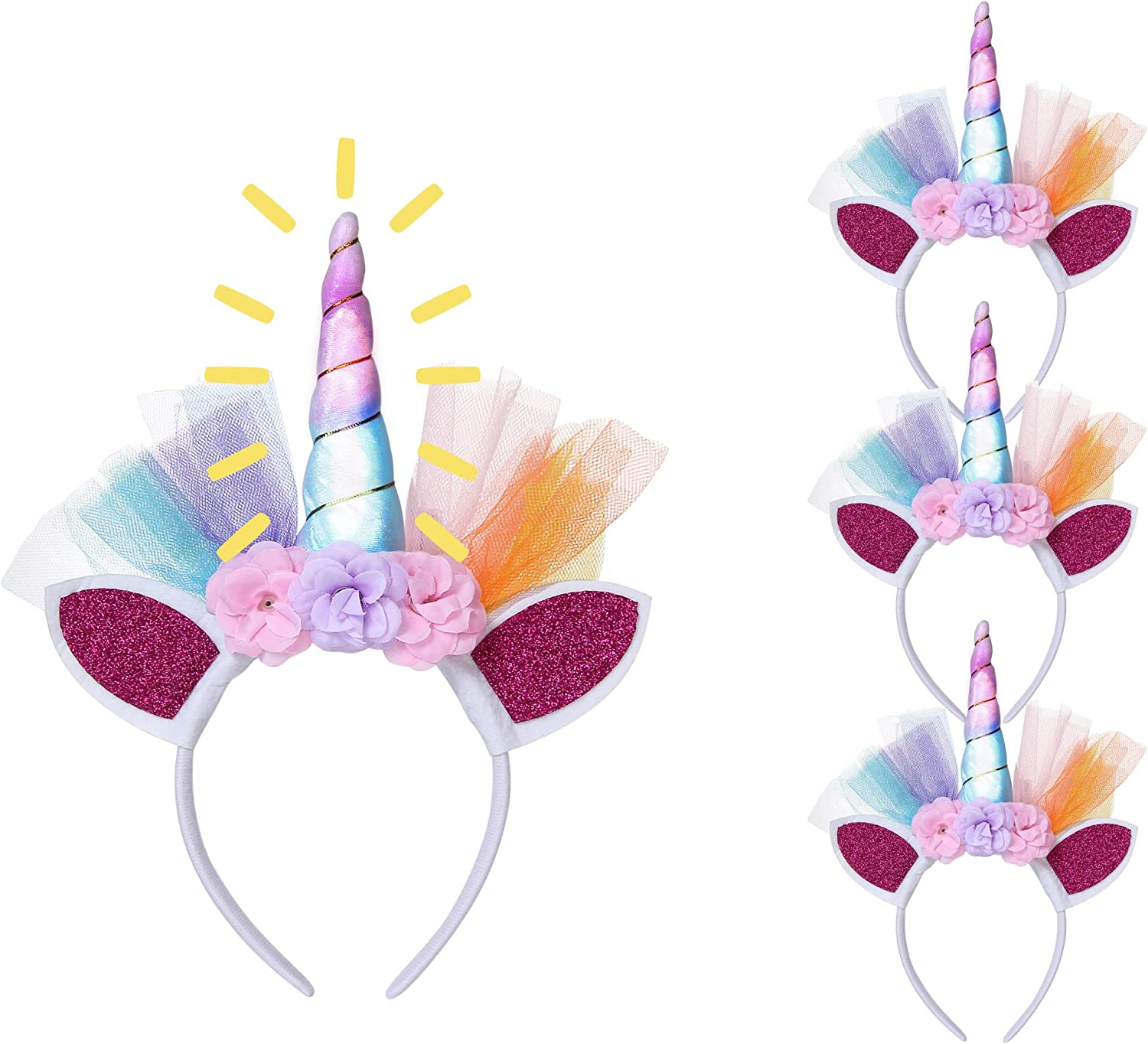 Amazon Com 315 Products Led Unicorn Headbands Party Favor Supplies For Both Kids Adults Pack Of 4 Clothing