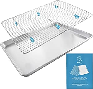 """Baking Sheet with Rack Set - (18"""" x 13"""" Pan / 16.8"""" x 11.8"""" Cooling Rack) Heavy-Duty Aluminum Cookie Half Sheets Oven Tray with Stainless Steel Roasting Wire - Includes Silicone Feet for Cooking Racks"""