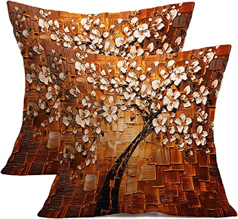 Oil Painting Tree Cotton Linen Pillow Cases Throw Cushion Cover Sofa Home Decor
