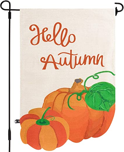 Amazon Com Whaline Irregular Pumpkin Garden Flag Double Sided Burlap Hello Autumn Flag With Rubber Stopper And Windproof Clip Indoor Outdoor Flag For Fall Celebration Garden Decoration 12 X 18 Inch Garden