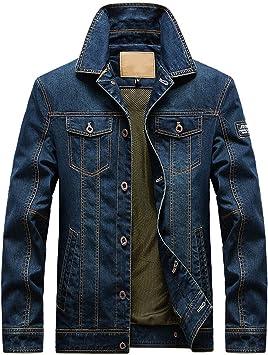 メンズ デニムジャケット裏地付きボタン留め ユーズド加工のスリムフィットデニムコート 長袖コットンクロップドジャケット