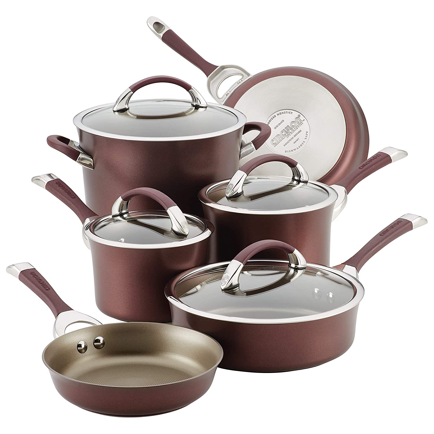 Circulon 87529 10-Piece Hard Anodized Aluminum Cookware Set, Merlot