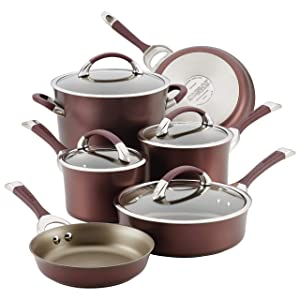 Circulon 87529 10-Piece Hard Anodized Aluminum Cookware Set, Merlot