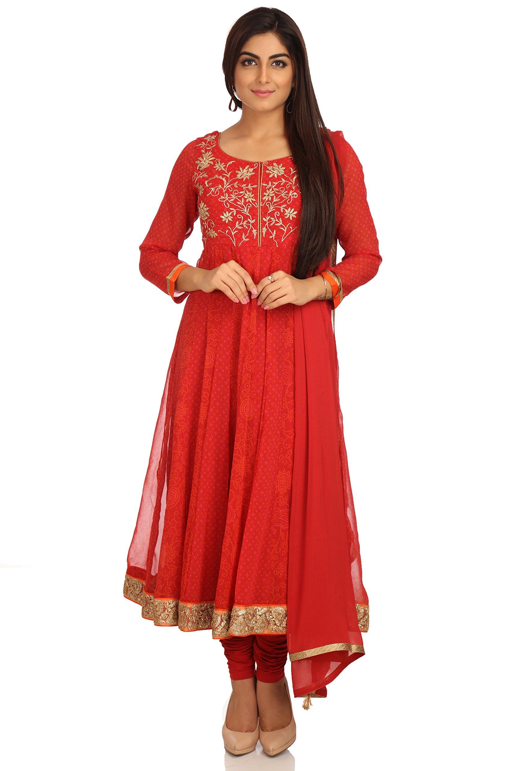 BIBA Women's Anarkali Polyester & Cotton Suit Set 36 Red
