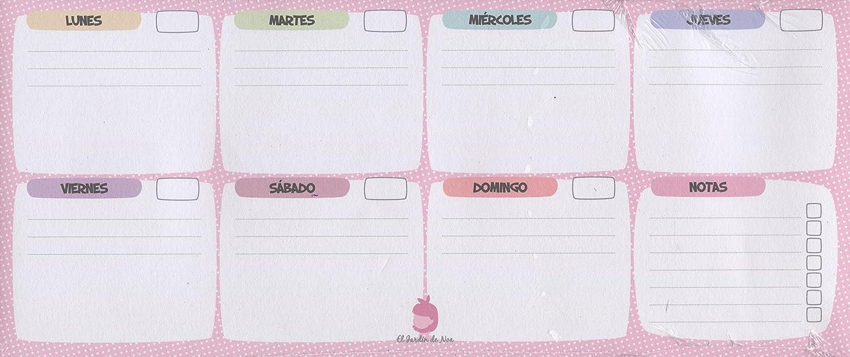 Jardín de Noa 1067B - Vade organizador semanal mini topos, engomado, 60 paginas, 4 hojas, color rosa: Jardin De Noa: Amazon.es: Oficina y papelería