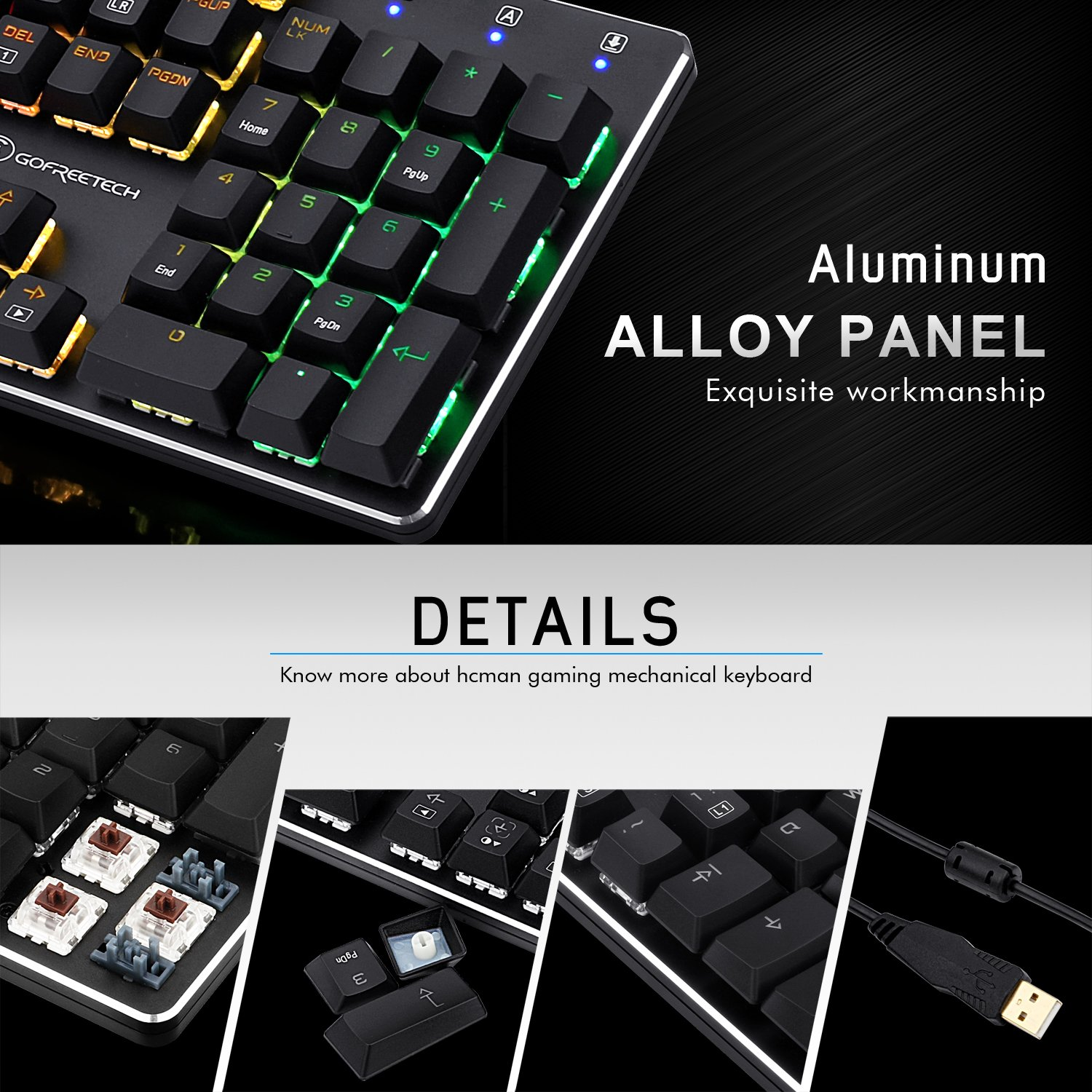 Mechanical Keyboard Wired RGB Gaming Keyboard with Brown Switches LED-Backlit Mode for Office Gaming by Gofreetech