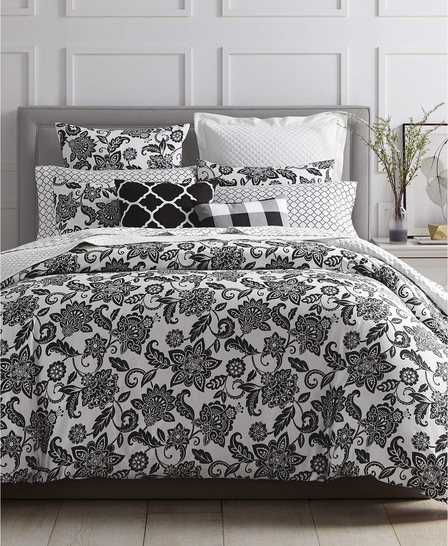 Amazon Com Charter Club Damask Designs Black Floral 3 Piece Full Queen Comforter Set White Home Kitchen