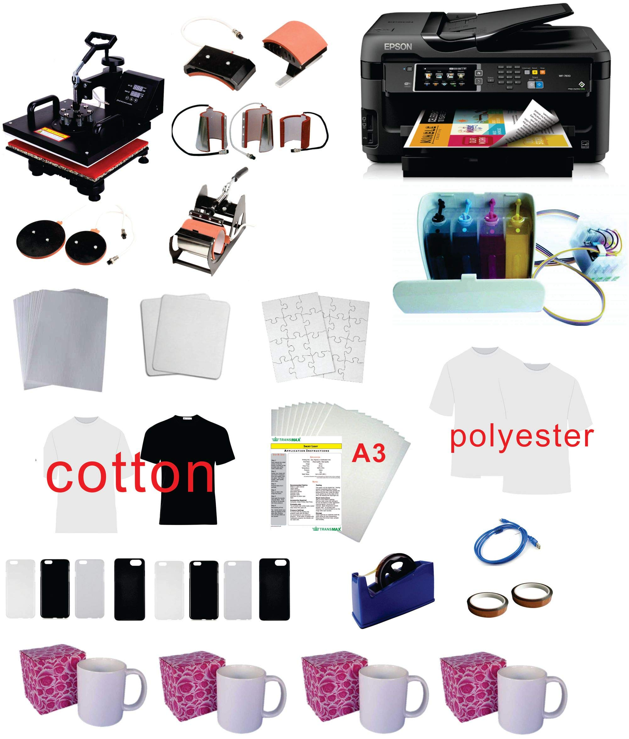 Pro Sublimation 15''x15'' 8in1 Heat Press WF-7710(11''x17'') Printer CISS kit