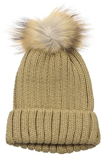 e794e20747e Amazon.com  La Fiorentina Women s Knit Beanie with Fur Pom