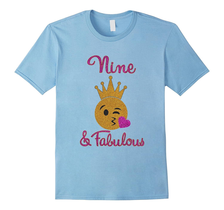 9th Birthday Girl Nine and Fabulous Emoji Shirt-TD