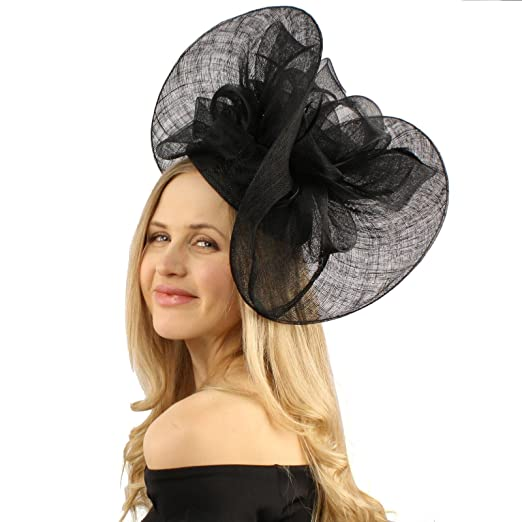 1e07d0139e2 Elegant Big Curl Up Sinamay Fascinators Headband millinery Cocktail Hat  Black