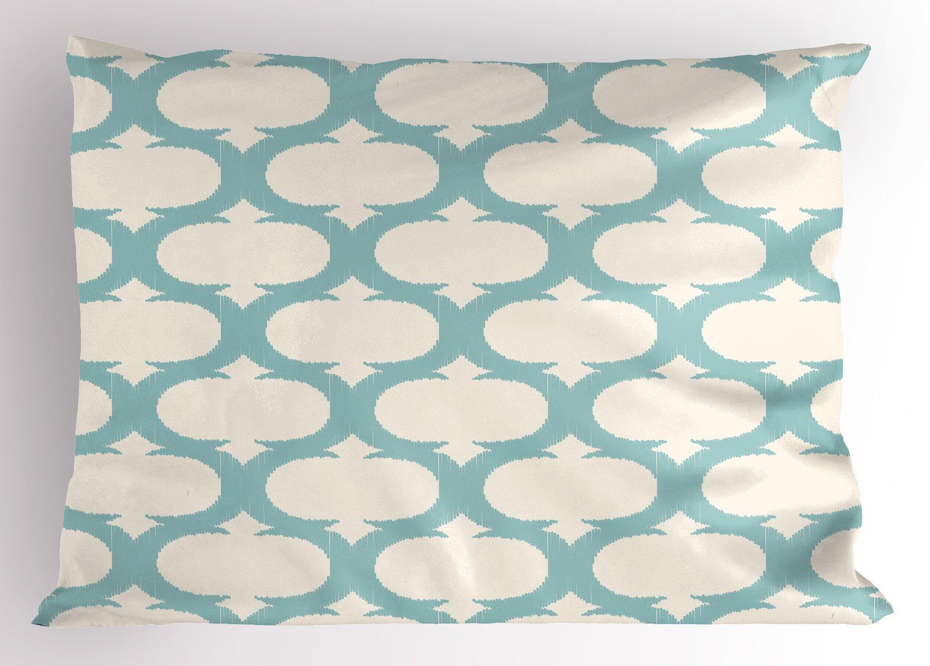 Ambesonne Aqua Pillow Sham, Mesh Pattern with Curvy Figures Ancient Arabic Lattice Design Old Fashioned Pastel, Decorative Standard King Size Printed Pillowcase, 36 X 20 inches, Seafoam Cream