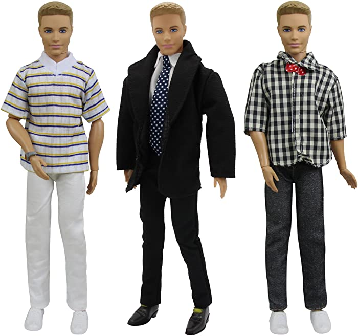ZITA ELEMENT 3 Sets Clothes for 11.5 Inch Girl Doll Boyfriend Doll Outfits - 1 Set Formal Office Suit with 2 Sets Summer Casual Wear for 12 Inch Boy Dolls Accessories