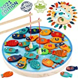 CozyBomB Magnetic Wooden Fishing Game Toy for Toddlers - Alphabet Fish Catching Counting Preschool Board Games Toys for 3 4 5