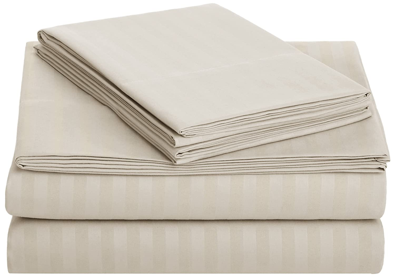 AmazonBasics Deluxe Striped Microfiber Bed Sheet Set - Full, Beige
