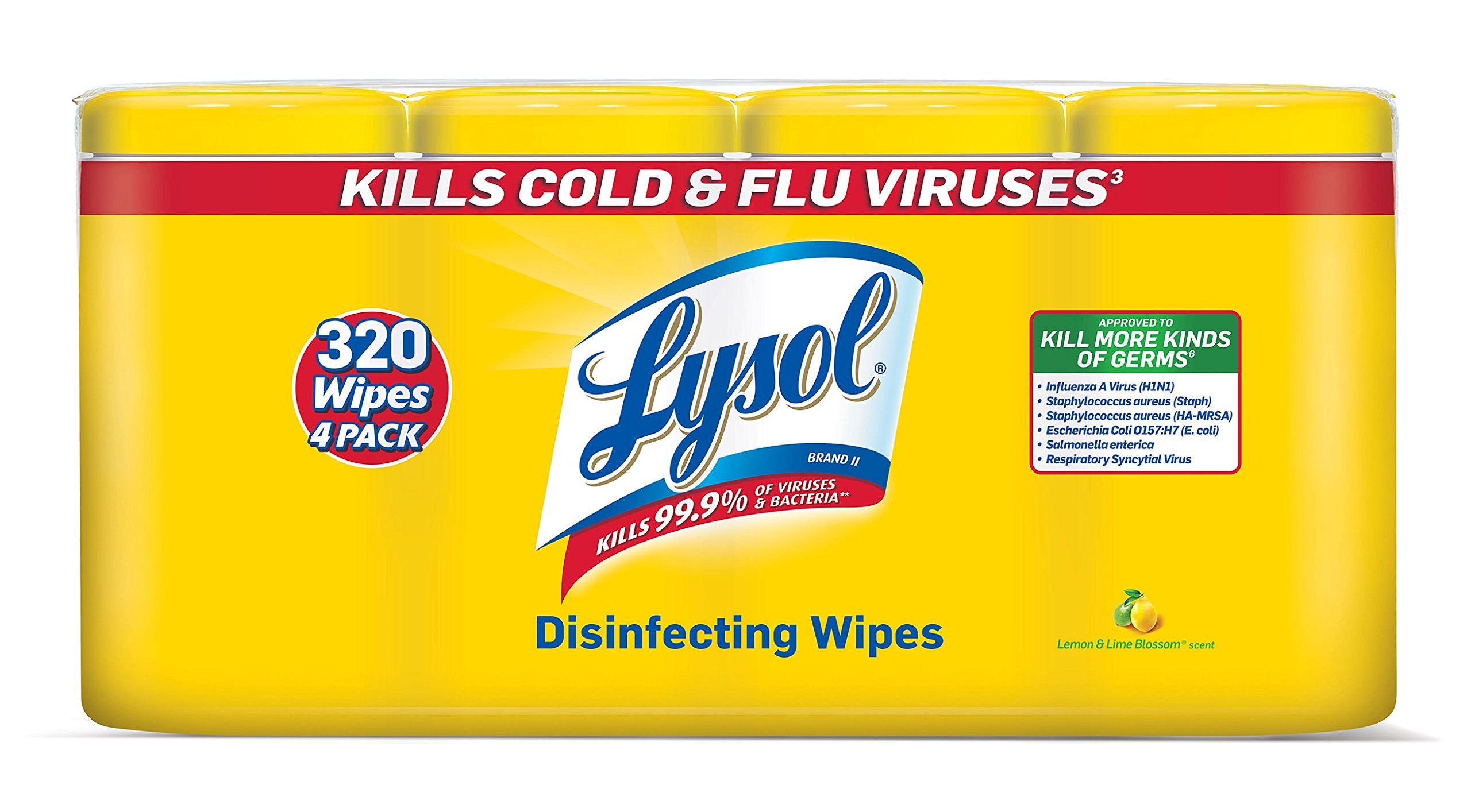 Lysol Disinfecting Wipes Value Pack Lemon & Lime Blossom 320 Wipes (4 Packs O.. 20