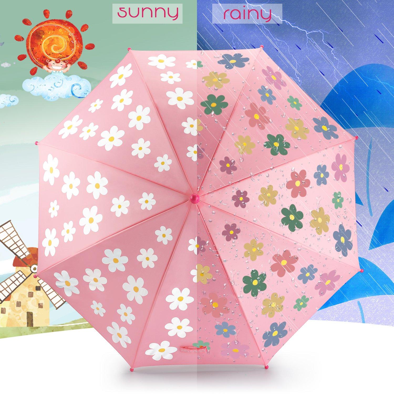 OMOTON Paraguas Niños, Paraguas Clásico, Cambia del Color de Flor, Paraguas Ligero, Rosa