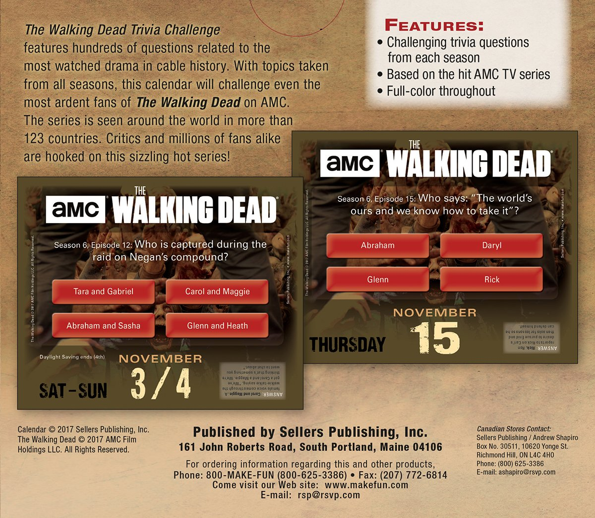 AMC The Walking Dead® Daily Trivia Challenge 2018 Boxed/Daily ...