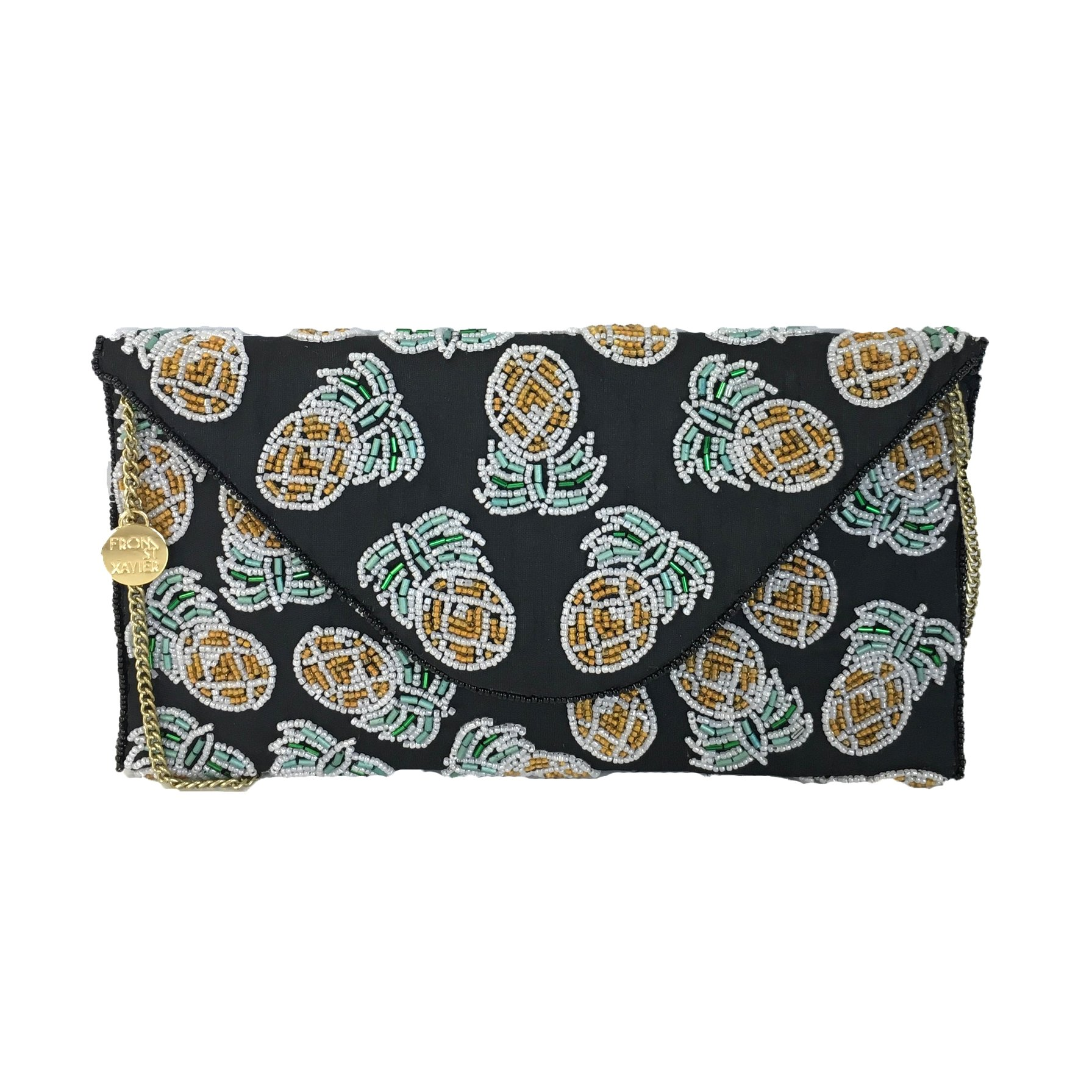 From St Xavier Pina Pineapple Beaded Convertible Clutch, Black/Yellow